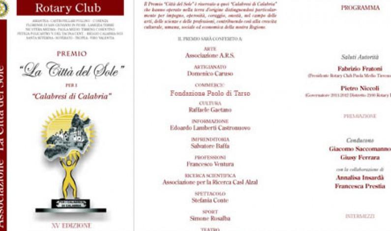 """Premio """"Città del Sole"""" del Rotary Club alla Paolo di Tarso per Simply Med"""
