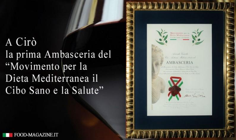 """Cirò """"Ambasceria"""" per la Dieta Mediterranea, Cibo Sano e salute"""
