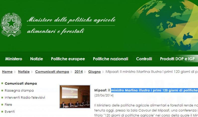 Mipaaf: ministro Martina illustra i primi 120 giorni di politiche agricole