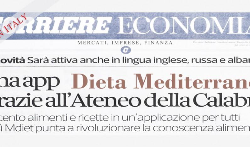 Mdiet, APP UNICAL della Dieta Mediterranea su Corriere Economia